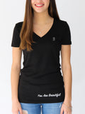 Women's Short Sleeve V-Neck -Black - Inspirational Shirts by Thomas Scott