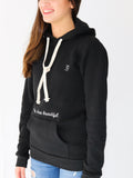 Women's Hooded Sweatshirt -Black - Positivity Sweatshirt by Thomas Scott