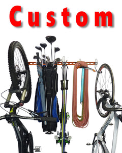 custom storage rack with mountain bike, golf clubs, skis, climbing gear and road bike