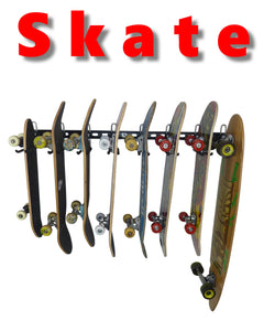 skateboard storage rack with 8 boards