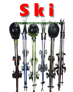 ski rack with 6 pairs of skis, poles and helmets