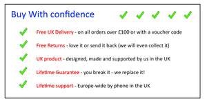 Buy with confidence - Free delivery, Free returns, UK product, Lifetime Guarantee, Lifetime support