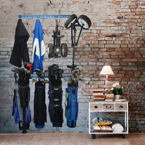 golf equipment storage, golf bag storage, golf bag storage rack, golf equipment organiser, golf rack