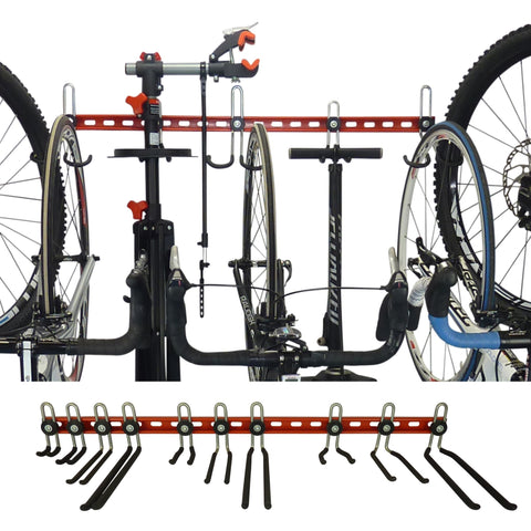 Wall mounting bike rack with space for extra gear between bikes