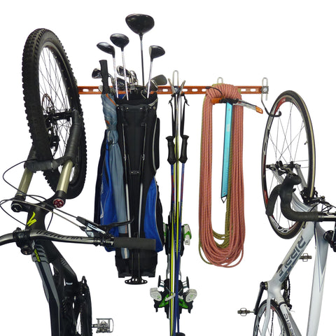 bike storage rack, golf bag rack, ski rack, climbing gear rack, road bike rack