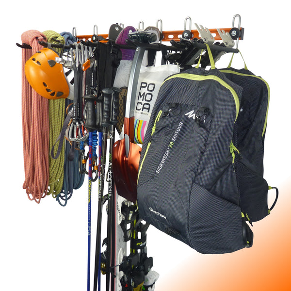Climbing equipment wall storage system
