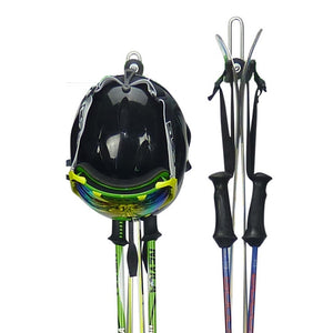 Ski wall mount - ski storage hook for 1 pair of skis, poles and a helmet.