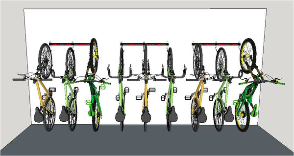 Illustration of 3 x 1M rails fitted in a line. Wall mounting bike storage racks for road bikes, mountain bikes. Rear wheels on the floor.