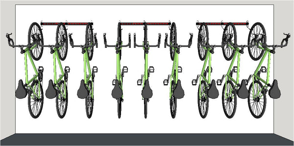 Illustration of 3 x 1M rails fitted in a line. Wall mounting bike storage racks for road bikes mounted off the floor giving a clear floor for easy cleaning.