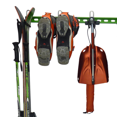 Ski storage hooks, ski boot storage hooks, transceiver, shovel and probe storage hooks