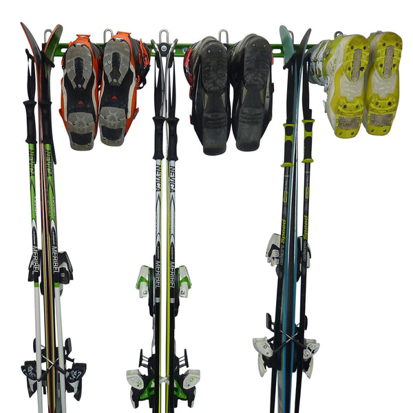 GearHooks ski rack with 3 pairs of skis and poles and 3 pairs of ski boots.