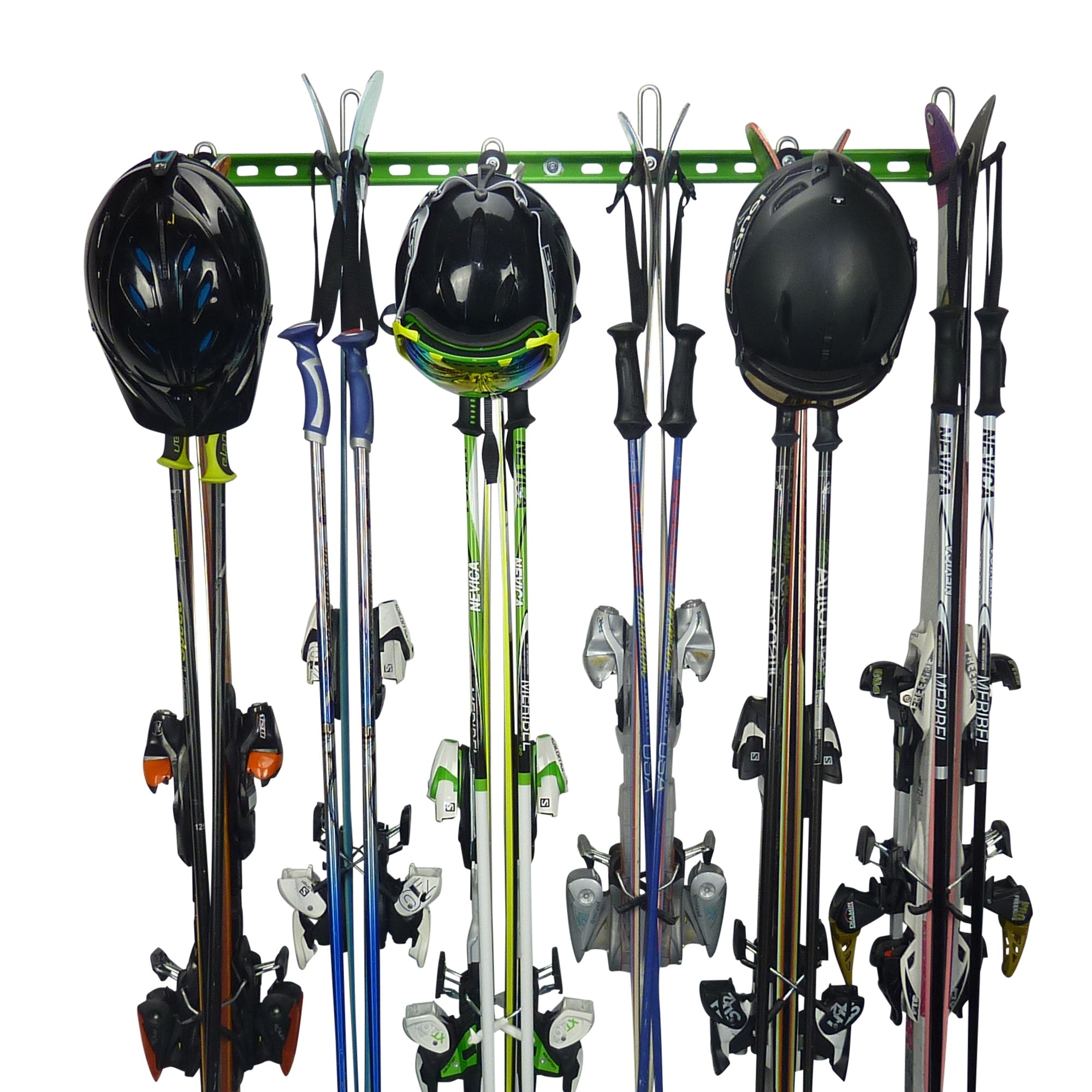 Wall mounting Ski Hanger and Ski Rack for up to 6 pairs of skis PLUS poles and helmets. GearHooks® SR2/4/6