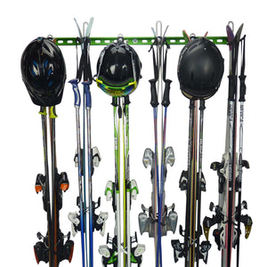 Ski wall mount. Wall Ski Rack and Ski Hanger for up to 6 pairs of skis PLUS poles and helmets