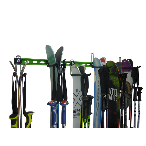 GearHooks ski rack with 6 pairs of skis and poles closeup.