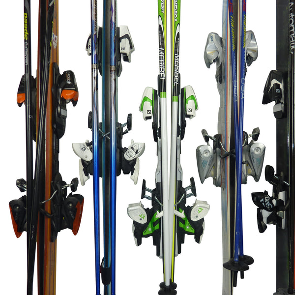 GearHooks ski rack with 6 pairs of skis and poles. Staggered bindings closeup