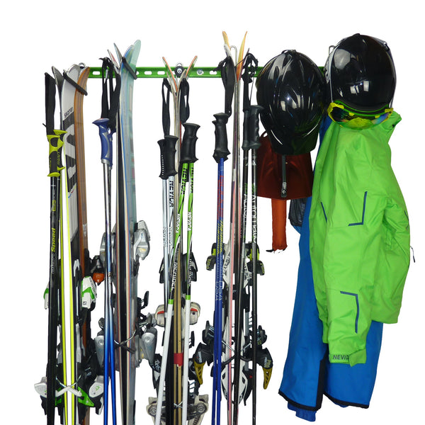 ski rack for 2/4/6/8/10 or 12 pairs of skis and poles with ski jacket, salopettes and helmet