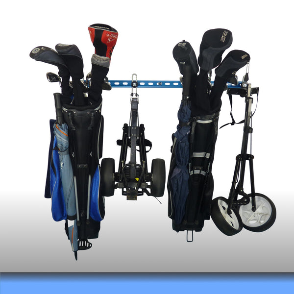 Golf bag storage rack with 2 full golf bags and 2 trolleys