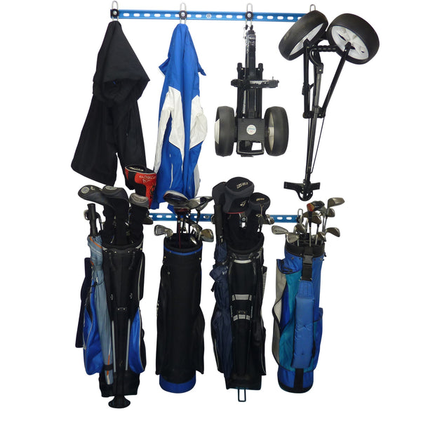Two Golf bag storage racks with 4 full golf bags and a second rack with clothing and trollys