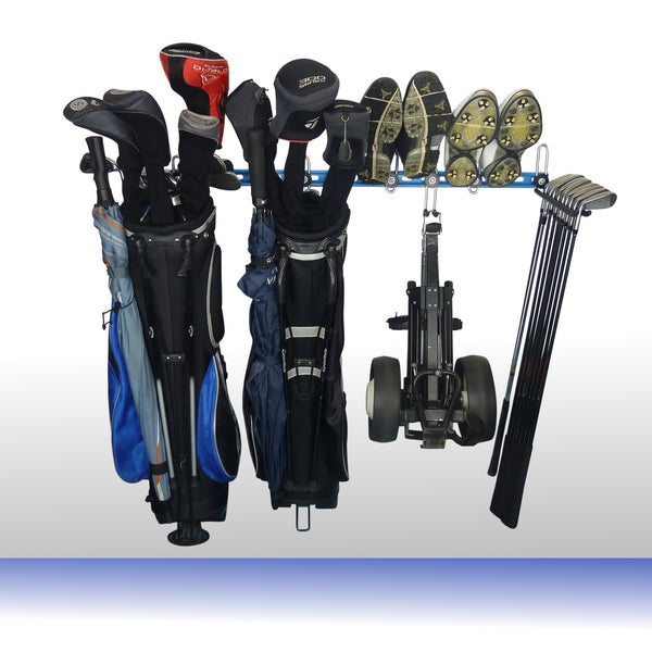 Golf bag storage rack with 2 full golf bags, trolley, shoes and golf club storage hooks