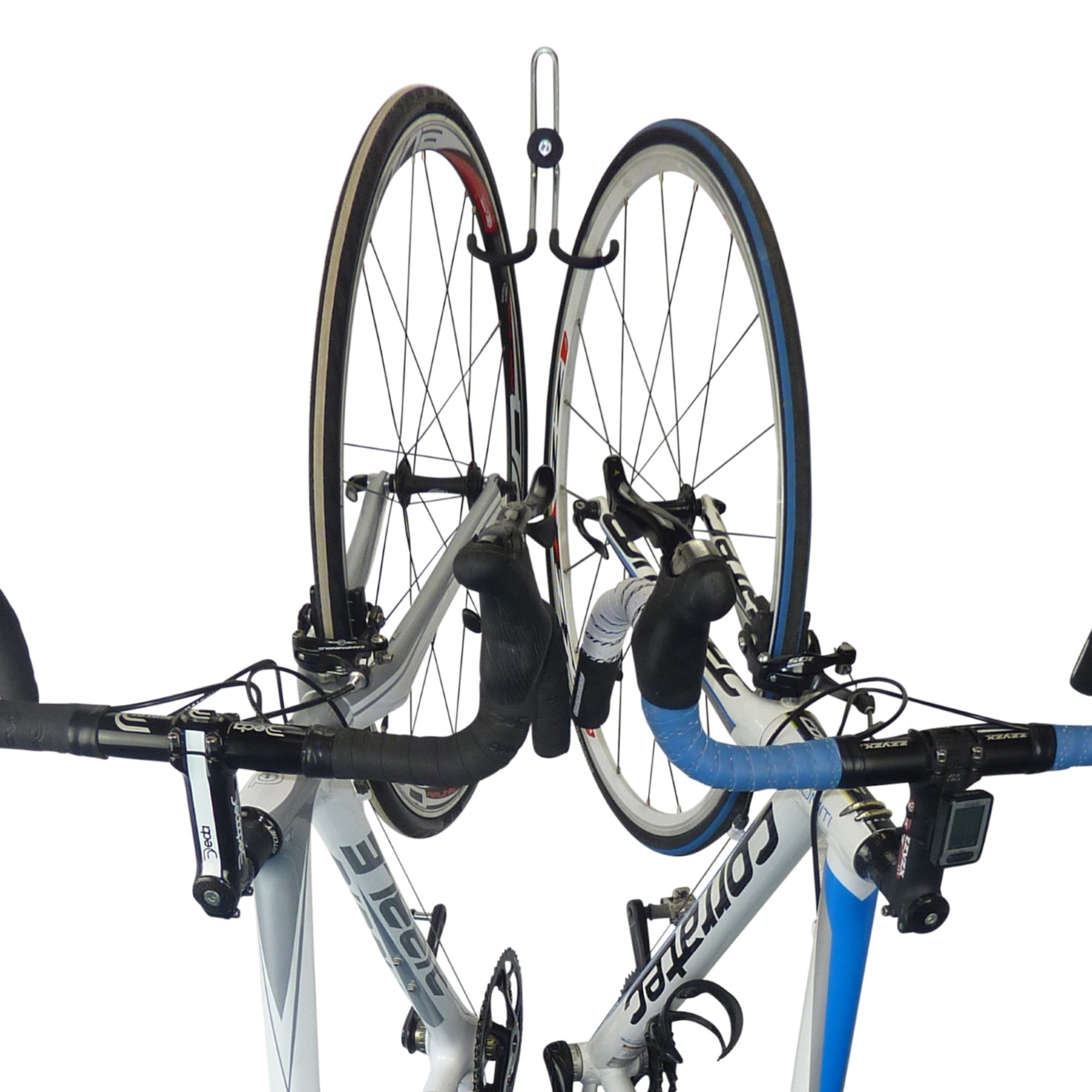Double bike storage hook with 2 road bikes