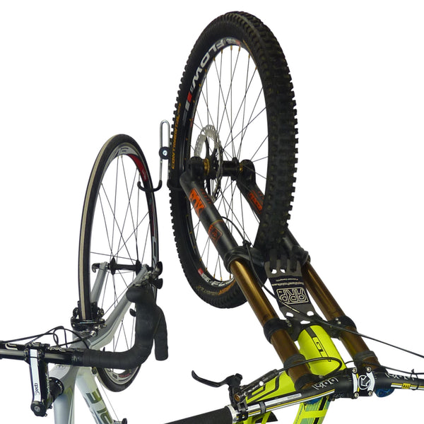 Double bike storage hook with 1 road bike and 1 downhill bike