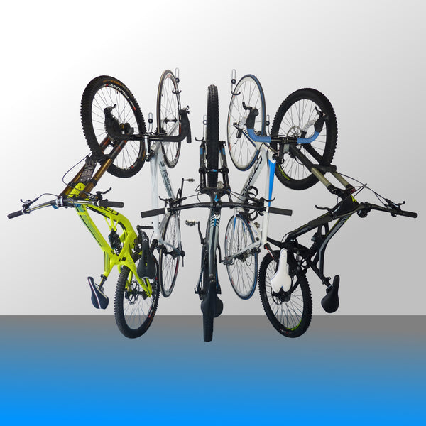Wall mounting bike storage hooks for 1 or 2 bikes fitted to a wall with one downhill bike, two mountain bikes and two road bikes