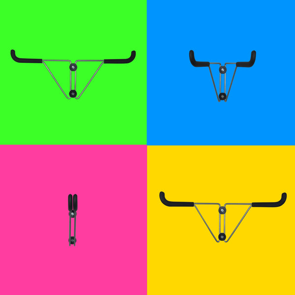 GearHooks wall mounting folding bike hook to hold a bike parallel to the wall for use in a garage, shed, office or home