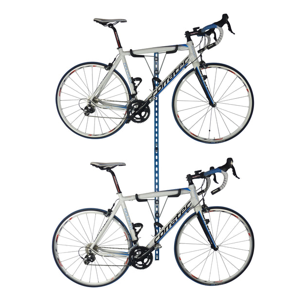 Horizontal folding bike wall brackets, gear storage and work stand for road bikes