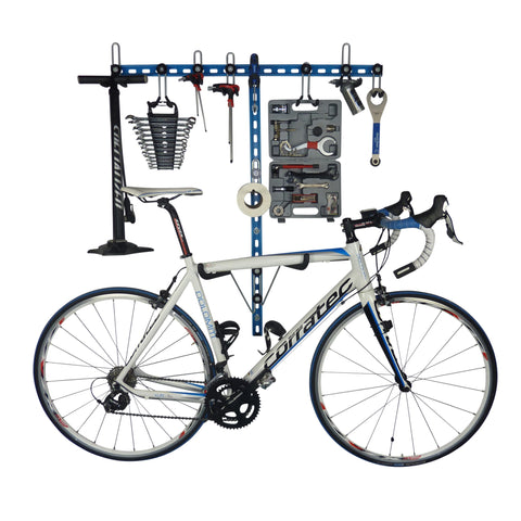 Horizontal folding bike hooks, work stand and double gear storage.