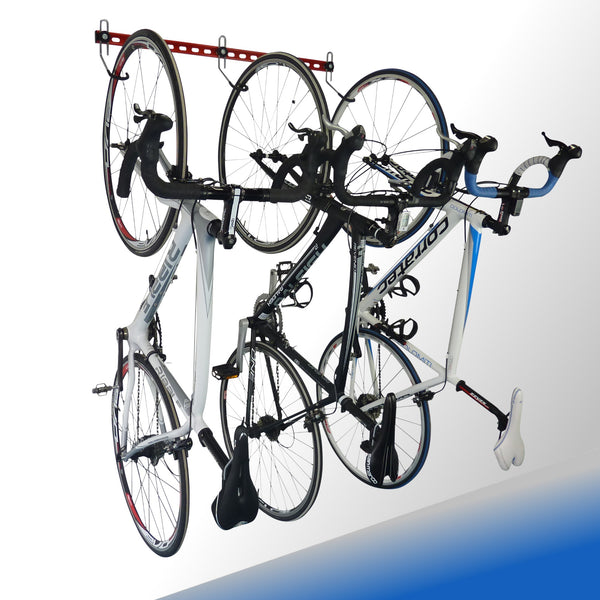 GearHooks® 3 bike garage bike storage rack. Garage organiser.