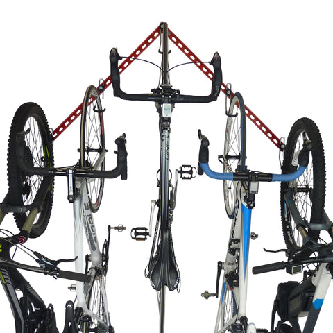 Bike storage rack and display rack for up to 6 bikes. The Flying 'V'