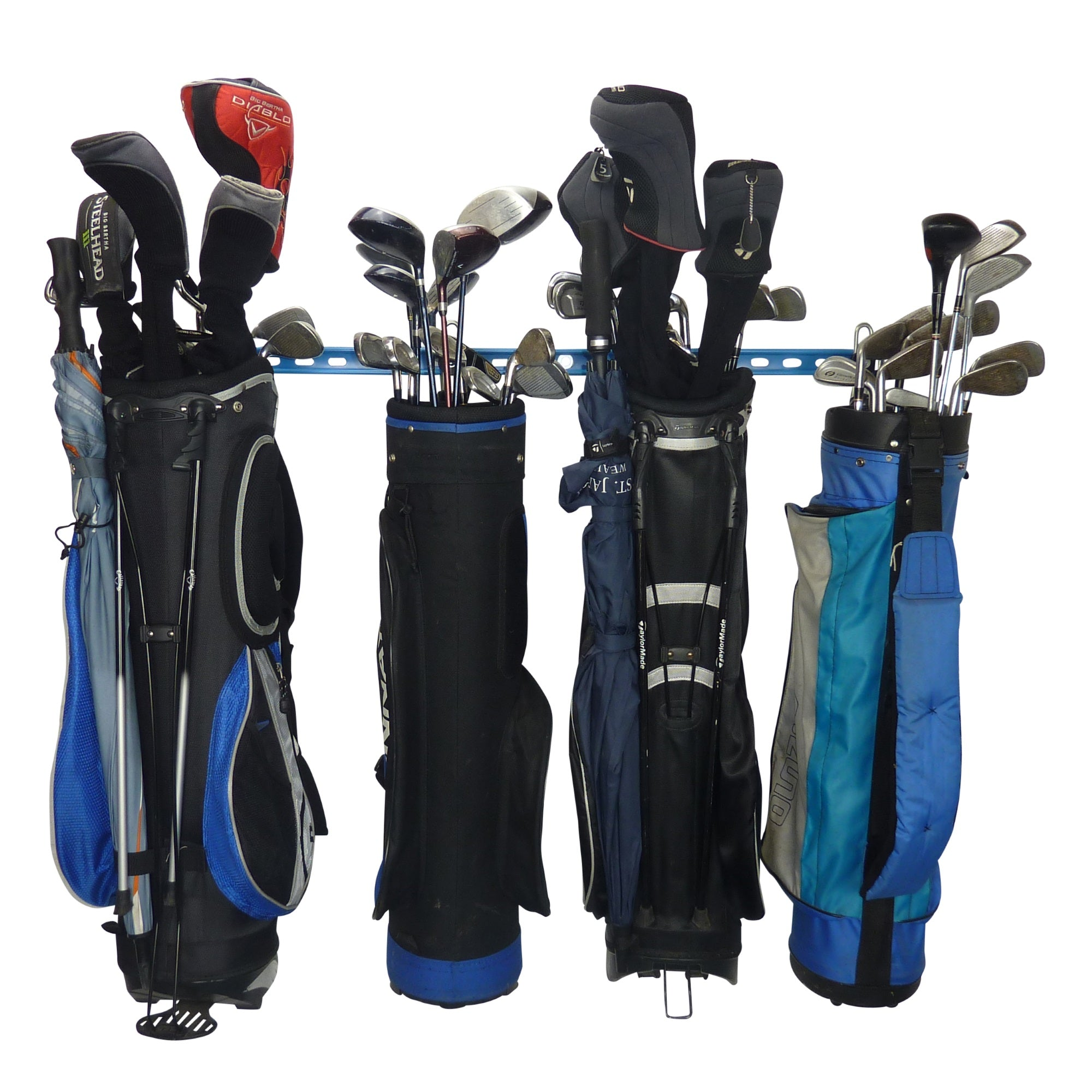 Golf equipment wall storage. Golf bag wall storage. Golf club wall storage