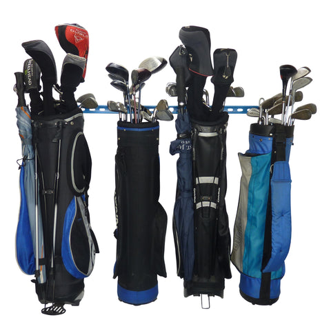 Golf bag storage and golf trolley storage rack