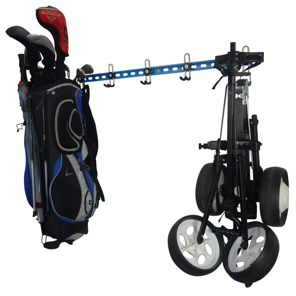 Golf bag storage rack with full golf bag and trolley
