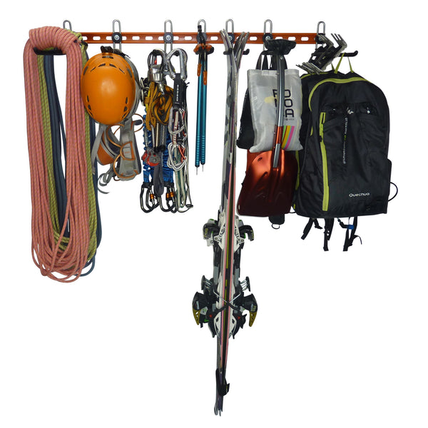 Climbing and mountaineering equipment storage rack. GearHooks® CR3/6-300