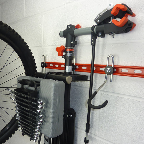 GearHooks bike accessory storage hooks. DP60/300 storage hook with Bike maintenance stand, track pump, tool box and spanner rack