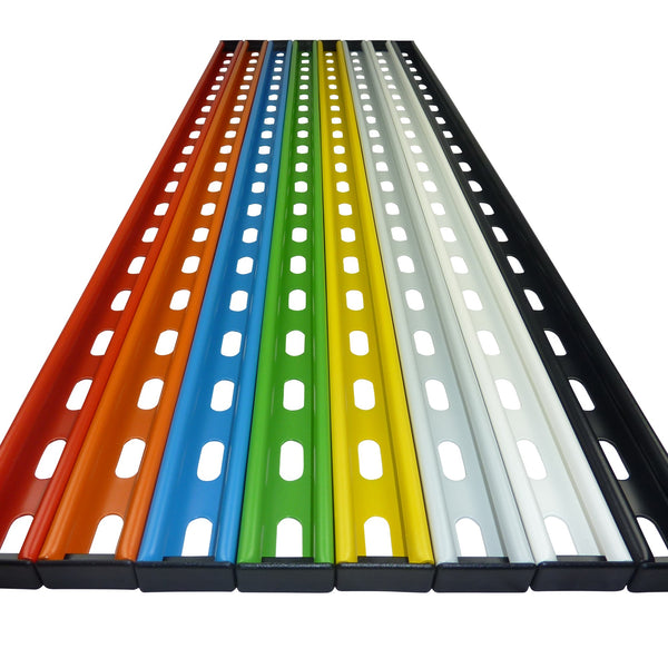 1M long GearRails are available in a choice of colours including red, orange, blue, green, yellow, grey, white and black