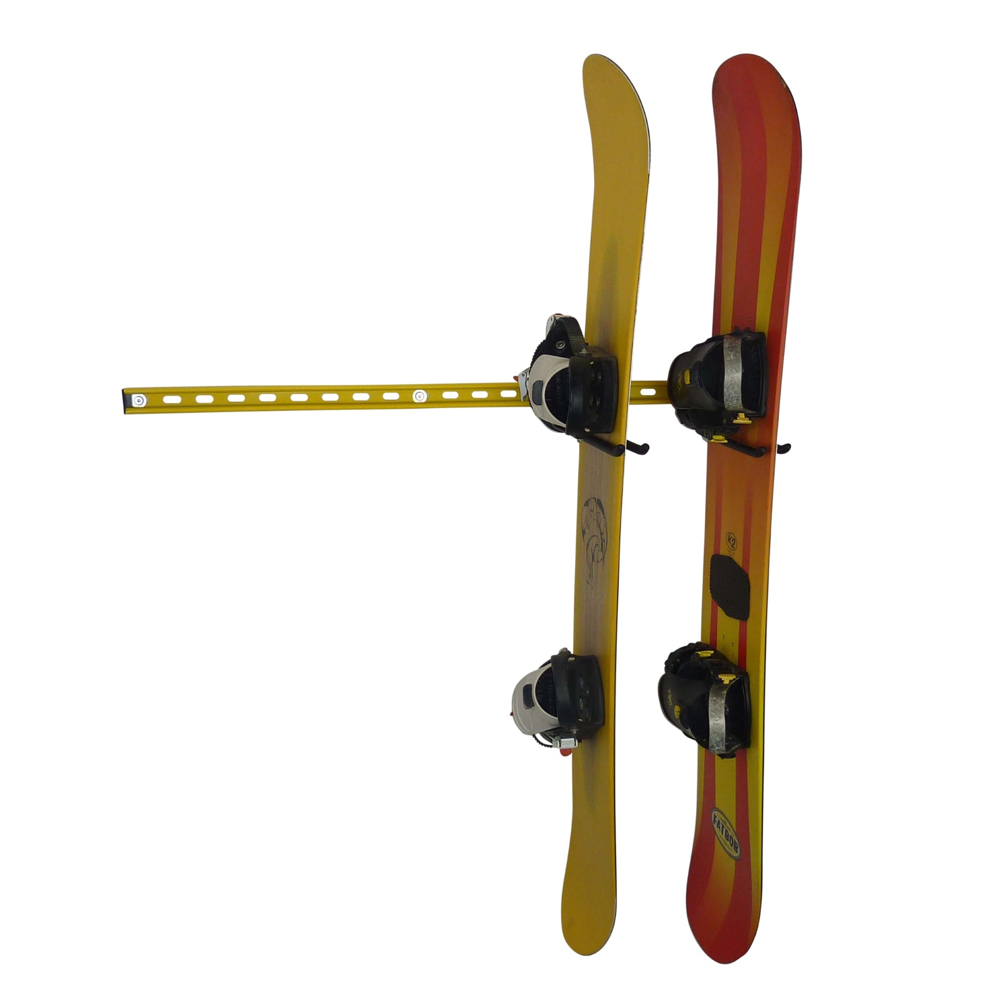 Wall mounting snowboard rack for 2 snowboards