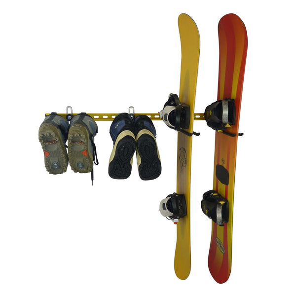 Snowboard equipment organiser with wall mounting rack for snowboards and snowboard boots