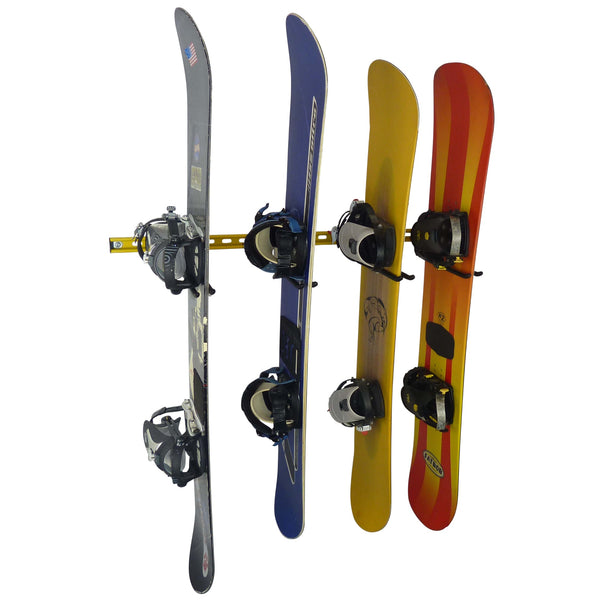 Wall mounting snowboard rack for 4 snowboards