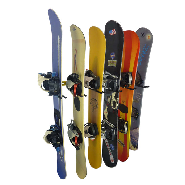 Wall mounting snowboard rack for 6 snowboards