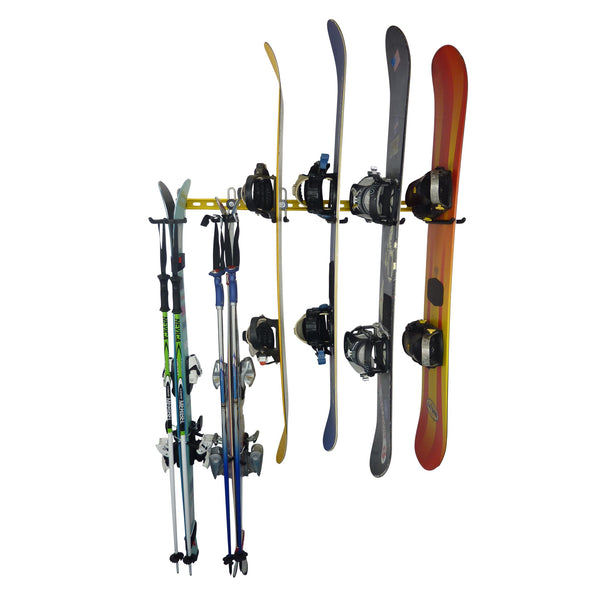 Ski and snowboard wall mounted storage rack