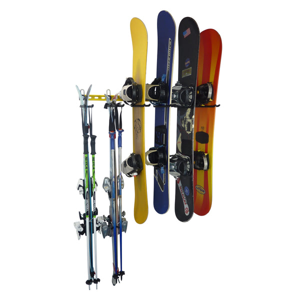 Ski and snowboard wall rack for up to 12 pairs of skis or snowboards. GearHooks® SBR4/8/12