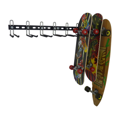 skateboard storage rack for 8 skateboards with 3 shown