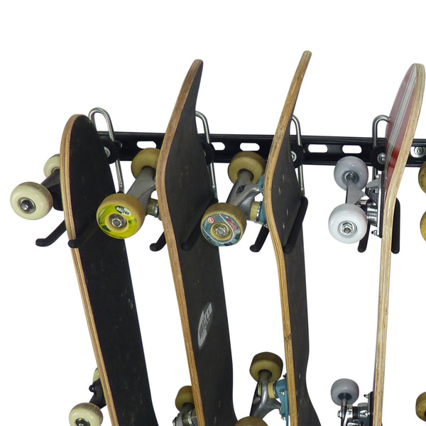 close up of skateboard storage rack for 8 skateboards