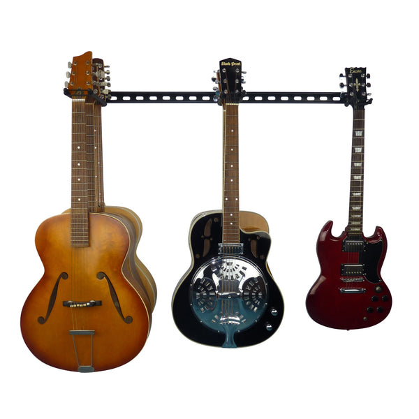 Acoustic and electric guitar wall storage rail with 3 guitar storage hooks for 6 guitars