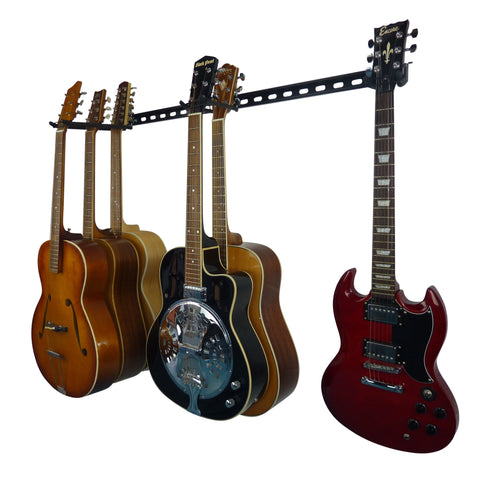 Guitar wall storage rack with 6 guitars. 4 acoustic guitars, 1 electro-acoustic and 1 electric guitar