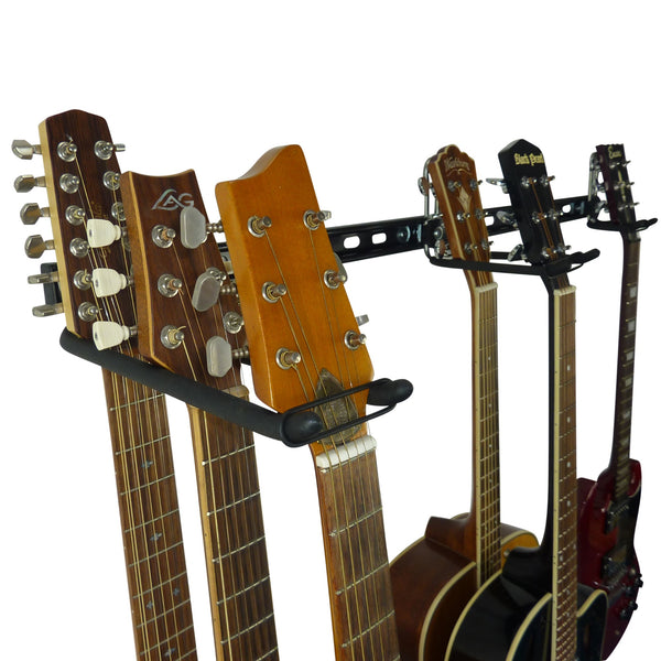 Guitar wall storage rail with close up of 3 guitar storage hooks for 6 guitars