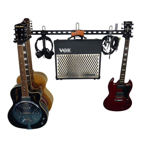 Electric guitar and acoustic guitar wall storage rail with 3 guitar storage hooks with 4 guitars, amplifier and leads