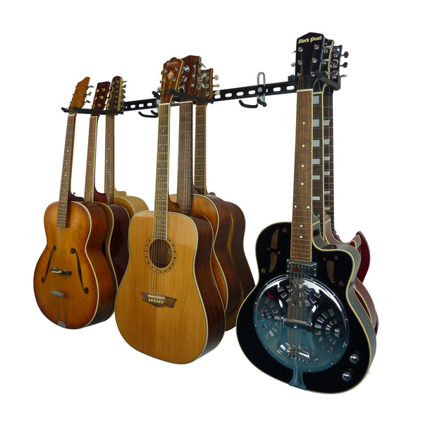 Guitar wall storage rail with 3 guitar storage hooks for 9 guitars and extra GearHooks for leads or other instruments